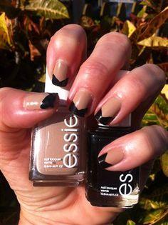Love the fun, yet formal black & beige bow-tie manicure!