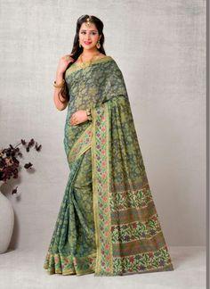 Capricious Green and Grey Block Print Super Net Trendy Saree