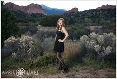 I photographed this high school senior at Garden of the Gods in Colorado Springs.  This was one of the last shots of the evening.  I love the way the red rocks stack up in front of the blue mountains in the background. April O'Hare Photography #ColoradoSprings #ColoradoHighSchoolSenior #GardenoftheGods