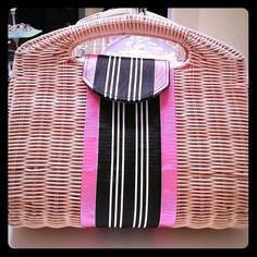 Fornash retired bag In excellent condition. Spotless inside. 11X12 pink- black-white ribbon stripe all the way around. Does not come with strap. Fornash Bags