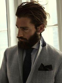 herringbone jacket has contrast under collar felt Hair And Beard Styles, Long Hair Styles, Sexy Beard, Men's Grooming, Haircuts For Men, Hipster Hairstyles Men, Gentleman Style, Modern Man, Facial Hair