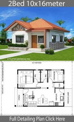 Home Design Plan With 2 Bedrooms House Plans House Plans Little House Plans, Dream House Plans, Modern Bungalow House, Bungalow House Plans, 3 Bedroom Bungalow, Affordable House Plans, 2 Bedroom House Plans, Two Bedroom House Design, House Construction Plan