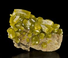 A gorgeous example vivid yellow green pyromorphite colors grading