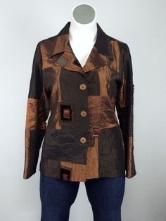 Linda Lundstrom 14 Copper Brown Patchwork Velvet Tweed Jacket Blazer Vintage…
