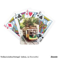 Trolley in Lisboa Portugal - Lisbon Streetcar Bicycle Playing Cards