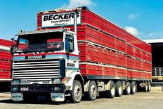Bill ✔️ A 450 Scania now with quite a few miles on the clock has been a busy high country work horse for Beckers Transport in North Otago, New Zealand. It's setup as a four deck sheep crate unit. Work Horses, Big Trucks, Caption, Crates, New Zealand, Sheep, Transportation, Deck, The Unit