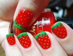 perfect strawberry nails for summer!-- Polished Love ♥