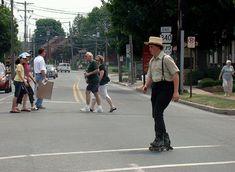 Amish people rollerblading: