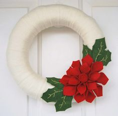 Christmas Wreath - Felt Poinsettia Wreath - Red and white holiday wreath