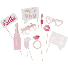 Ginger Ray Team Bride Hen Party Photo Booth Prop 10 Pack   Hobbycraft