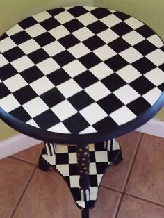 Painted Furniture Whimsical Table Black and Creme Checks