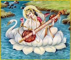 Shiva Art, Krishna Art, Hindu Art, Saraswati Painting, Tanjore Painting, Indian Goddess, Goddess Art, Cosmos, Saraswati Goddess