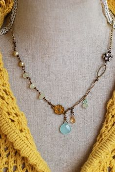 Samantha.. romantic,gemstone,pearl,rhinestone necklace. Tiedupmemories