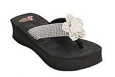 Justin®Abigail™ Women's Black w/ Flower Center Jeweled Flip-Flop by M
