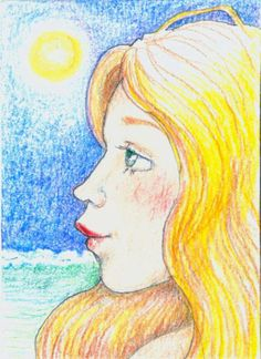 ACEO Original Art Woman at Seaside Ocean Beach Pencil  OOAK