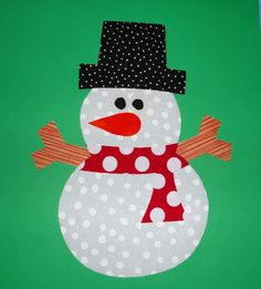 Iron On Fabric Applique LARGE SNOWMAN Red Scarf. $6.00, via Etsy.