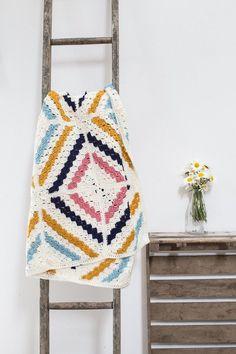 crochet afghan pattern using corner to corner (c2c) crochet. modern and bright colors!