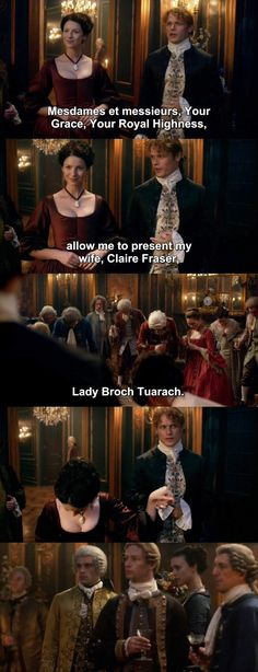 """""""Allow me to present my wife, Claire Fraser, Lady Broch Tuarach"""" - Jamie and Claire #Outlander"""