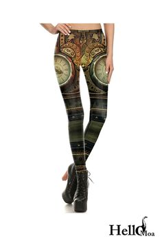 Designed with premium high quality material, Light-weight, flexible and move with you every step. Steampunk Leggings, Steampunk Clock, Ankle Length, Stylish Outfits, Custom Design, How To Wear, Collection, Style, Fashion