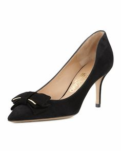 Runa Suede Bow Pump by Salvatore Ferragamo at Neiman Marcus.