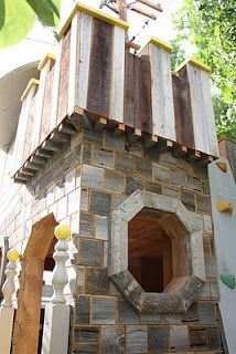The COOLEST kid playhouse EVER. Made with repurposed stuff too ... on castle playhouse ideas, castle playhouse with slide, castle bedroom designs, cardboard castle designs, castle playhouse plans, castle patio designs, lego castle designs,
