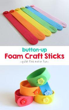 Button-Up Foam Craft Sticks - Mama. : Button-Up Foam Craft Sticks - Mama. Quiet play idea: button-up foam craft sticks. Foam Sheet Crafts, Foam Crafts, Craft Stick Crafts, Craft Sticks, Craft Foam, Crafts With Foam Sheets, Quiet Time Activities, Toddler Activities, Preschool Activities