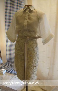 Designer creation using piña fabric. A modern ode to traditional wear. Barong Tagalog For Women, Modern Filipiniana Gown, Filipino Fashion, Kebaya Dress, Modern Fashion, Traditional Dresses, Aesthetic Clothes, Blouse Designs, Designer Dresses