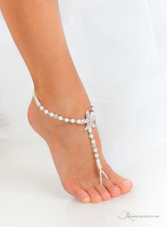 2766c9ae71f623 Rhinestone Starfish and Pearl Beaded barefoot sandals Bridal foot jewelry Beach  wedding Barefoot Sandals Bridal shoes Wedding accessory