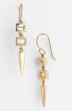 Melinda Maria 'Jamie' Drop Earrings   $98   Gold/Clear Cz