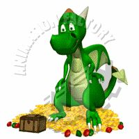 Dragon Guarding Riches Animated Clipart