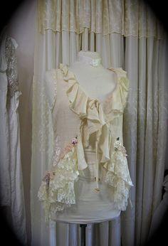 Ruffle Lace Top, shabby feminine romantic, soft creme laces embellished, upcycled altered womens clothing MEDIUM via Etsy