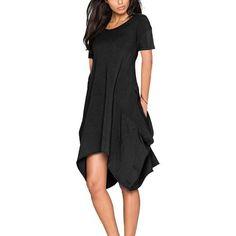 #CHICUU - #CHICUU Irregular Short Sleeve Pockets Round Neck Women's Midi Dress - AdoreWe.com