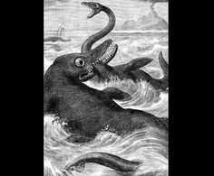 Plesiosaurus  by Eduard Riou (1838-1900)  from Chatterbox Magazine  1880 United States