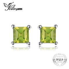 Square Natural Peridot 925 Sterling Silver Stud Earrings Fine Jewelry for Fashion Women Statement Jewelry Unusual Gifts For Her, Silver Certificate, Birthday Gifts For Women, Square, Sterling Silver Earrings Studs, Beautiful Earrings, Statement Jewelry, Women's Earrings, Peridot Earrings