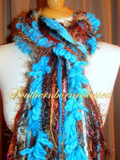 Fringe scarf aqua teal and copper scarf by Southernbornnblessed
