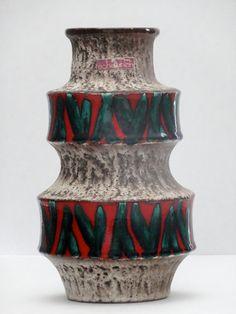 Scheurich Mid Century Cream Red Green Op Art Bamboo Fat Lava