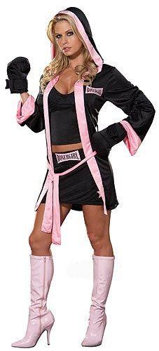 Disfraz de boxeadora sexy, compuesto por: camiseta, falda, batín con capucha con guantes de boxeo. Comprar Disfraz Boxeadora .