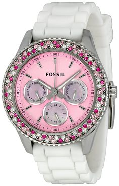 Fossil Womens ES2895 Stella Pink Dial Watch