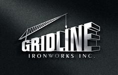 Hotspot Creative Solutions | Gridline Ironworks Logo. This logo was created with the intention that it would be immediately obvious what kind of industry the company was in. A 3D effect was created with a crane for unique visual interest.
