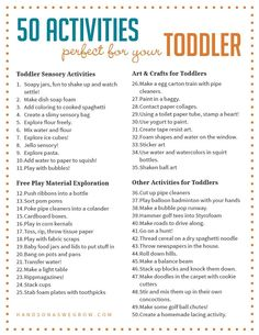 can I do with my toddler? Activities for toddlers are one of the hardest things to come up with. These 50 activities toddlers will love exploring, creating and having fun with! Sensory Activities Toddlers, Preschool Learning Activities, Preschool At Home, Infant Activities, Kids Learning, Sensory Play, Family Activities, Monthly Themes For Preschool, At Home Toddler Activities