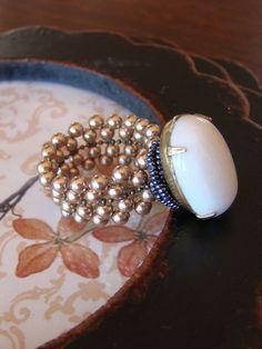 Alabaster Jade crystal bronze ring