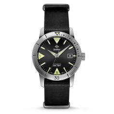 ZODIAC's most celebrated timepiece is back. It features a stainless-steel case, sleek black dial, black leather NATO strap, SuperLuminova hands and indexes and a uni-directional topring Black Leather Watch, Mens Watches Leather, Watches For Men, Zodiac Watches, Skin Diver, Nato Strap, Men's Wardrobe, Vintage Watches, Stainless Steel Case
