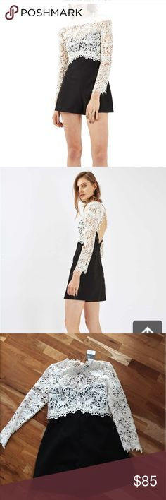"""Top shop lace romper nwt sz 8 Details & Care Whimsical soutache lace makes this flippy, darted romper your new emergency black-tie look. 31 1/2"""" length; 1 3/4"""" inseam; 30"""" leg opening (size 12) Hidden back-zip and button-and-loop closure Jewel neck Long sleeves Open back 63% polyester, 33% viscose, 4% elastane; 100% polyester lace Dry clean Imported Topshop Shorts"""