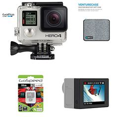 GoPro Hero4 Hero 4 12MP Full HD 4K 30fps 1080p 120fps Built-In Wi-Fi Waterproof Wearable Camera Black Adventure 32GB Edition with  GoPro LCD Touch BacPac and GoPole Venturecase Weatherproof Softcase