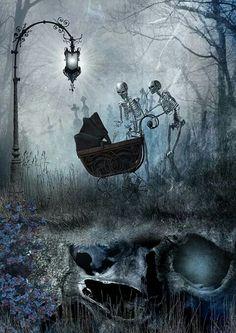The Macabre and Skeletal Art of Dan Verkys Skeleton Love, Skeleton Art, Arte Horror, Horror Art, Dark Fantasy, Fantasy Art, Gouts Et Couleurs, Art Of Dan, Pop Art