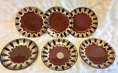 Hand Painted Vintage European Serbian Troyan Bulgaria Art Pottery Redware Dishes  set of Six (6) Browns,Tans and Blues 3 w/ Original Sticker by LilRedsRetroFinds on Etsy