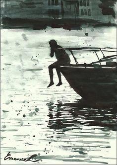 Drucken Sie Leinwand Tusche Zeichnung Skizze Stadt Kunst Malerei Illustration Geschenk Wohnkultur Boy Boat Autographed unterzeichnete Emanuel M. Ologeanu
