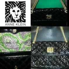 ANNE KLEIN BEAUTY Anne Klein Patent Leather Padded Medium Size Shoulder Bag  All black with gold accents Chain/strap can be worn in different ways- on shoulder or double it for hand Perfectly clean inside  Green Floridian floral type cute inside You will not be disappointed with this purchase!!! One of my favs and used once - NO BLEMISHES Sold out everywhere!! Enjoy this new treasure, straight to your closet! Anne Klein Bags Shoulder Bags