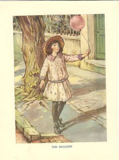 1923 Cicely Mary Barker Childrens Print. Young Girl Walks Along Street With A Pink Balloon.  Ideal For Framing via Etsy.