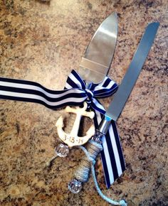 Personalized Nautical Wedding Cake knife set on Etsy, $17.25